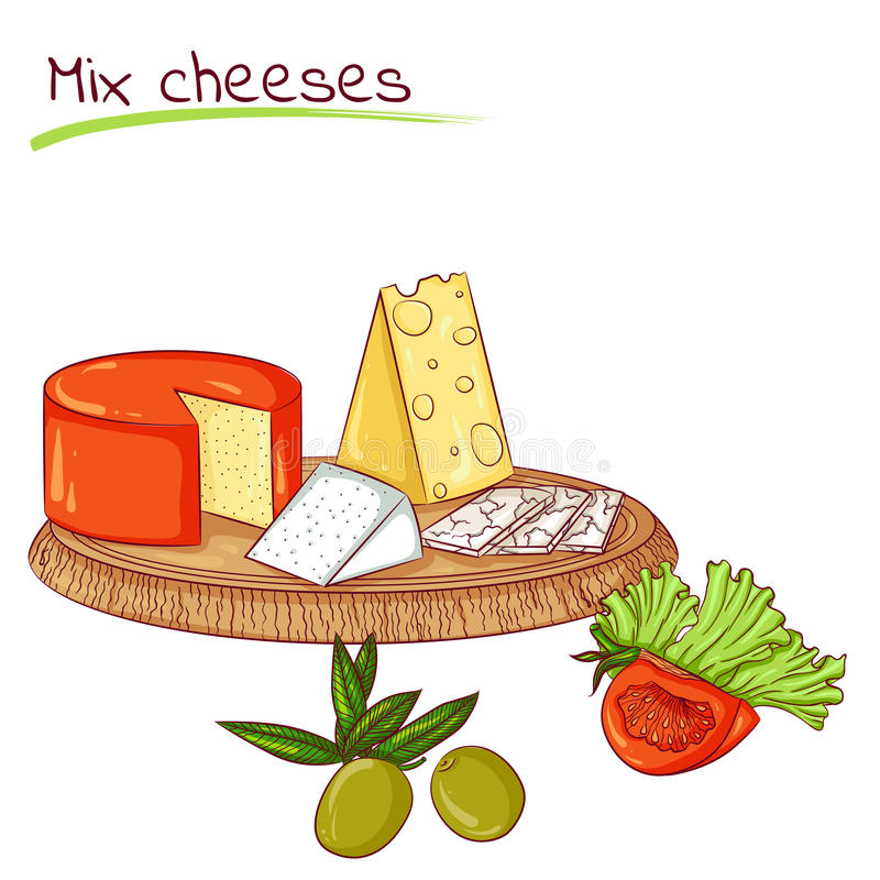 Mix cheeses and vegetables. Vector illustration of mix cheeses isolated on white background. Food Icon. Design for cookbook, restaurant business. Series of food stock illustration