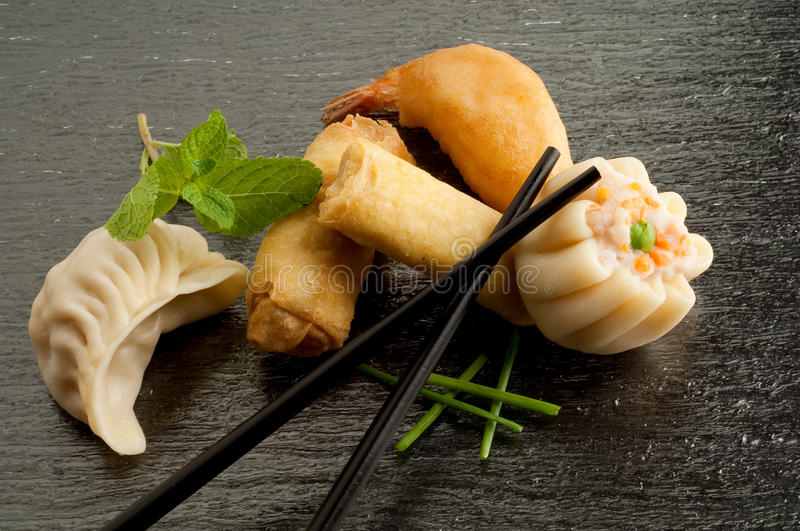 Mix of china food. With chopsticks stock image
