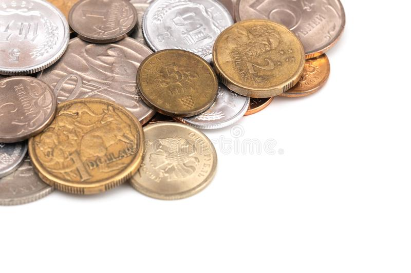 Set of Various Coins from Around the World. A Mix of Coins from Various Countries stock photos