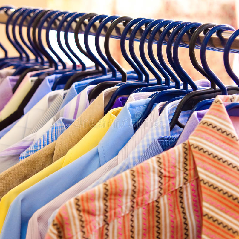 Download Mix Color Shirt And Tie On Hangers Stock Photo - Image: 18596734