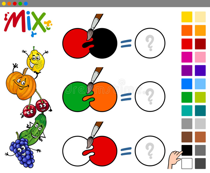 Mix colors game for kids stock illustration