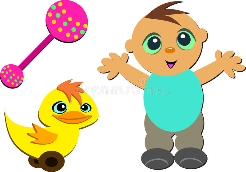 Mix of Cute Baby, Rattle, and Toy Duck stock illustration