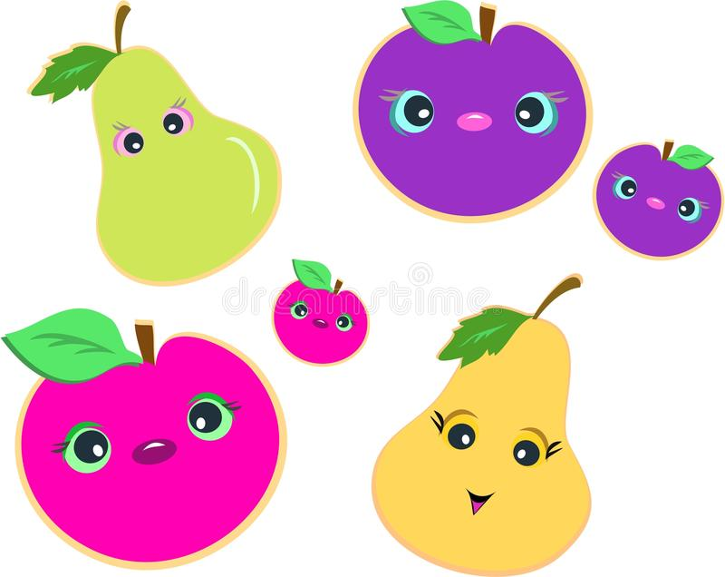 Mix of Cute Fruits. Here are a group of cute fruits with happy faces and attentive eyes stock illustration