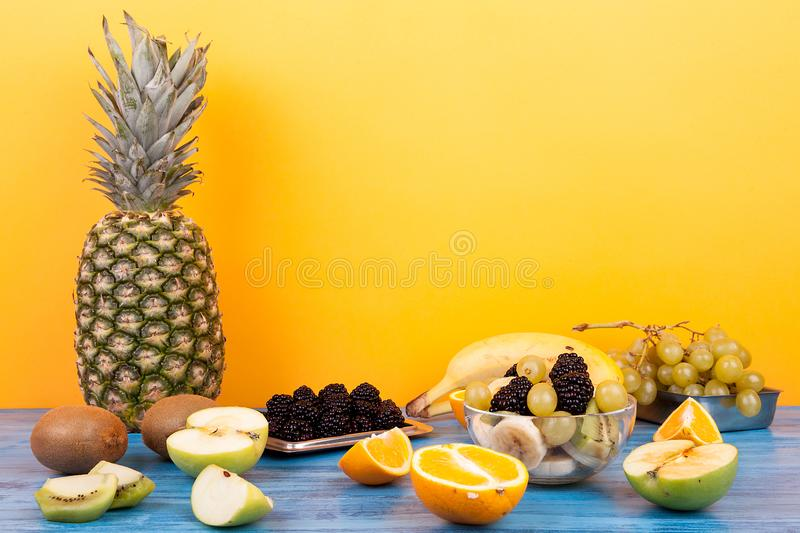 Mix of delicious and healthy tropical fruits stock photos