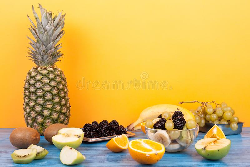 Mix of delicious and healthy tropical fruits stock photography