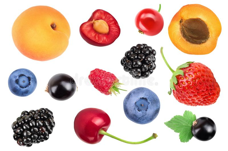 Mix of different berry isolated on white background. Top view. Flat lay pattern stock photo