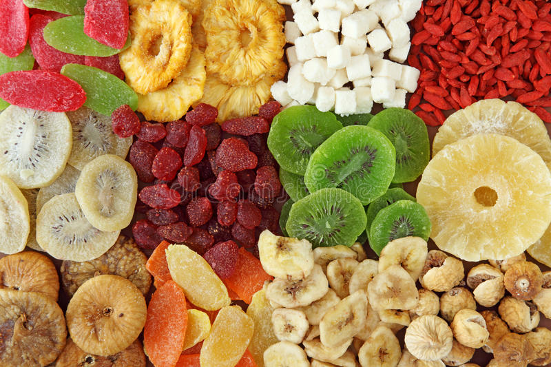 Mix of dried fruits royalty free stock photo