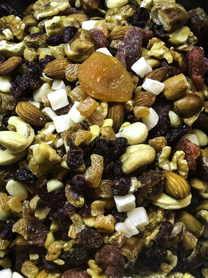 Mix of dried fruits for healthy lifestyle royalty free stock images