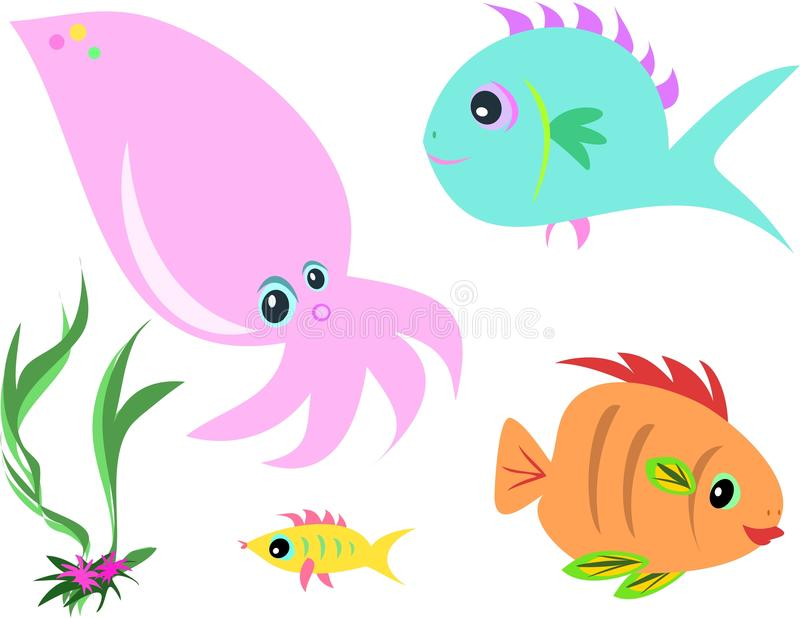 Download Mix Of Fish, Squid, And Seaweed Stock Vector - Image: 14342096