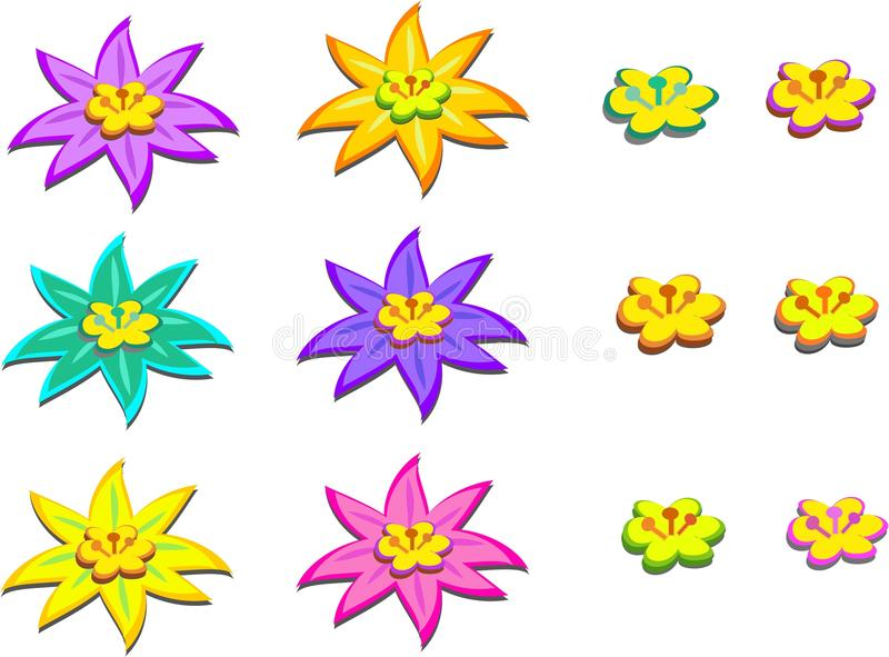 Mix of Flowers with Centers stock illustration