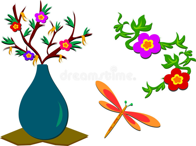 Download Mix Of Flowers, Plants, Dragonfly Royalty Free Stock Photos - Image: 23019048