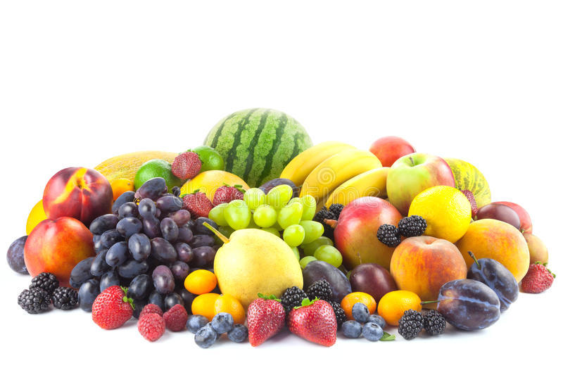 Mix of Fresh Organic Fruits isolated on white royalty free stock photos