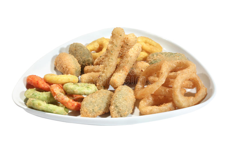 Mix of fried seafood snacks stock photos