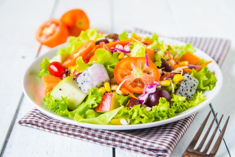 mix fruit and vegetable salad royalty free stock photos