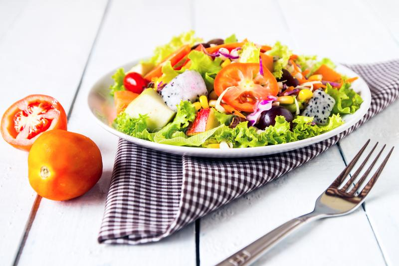 mix fruit and vegetable salad stock image