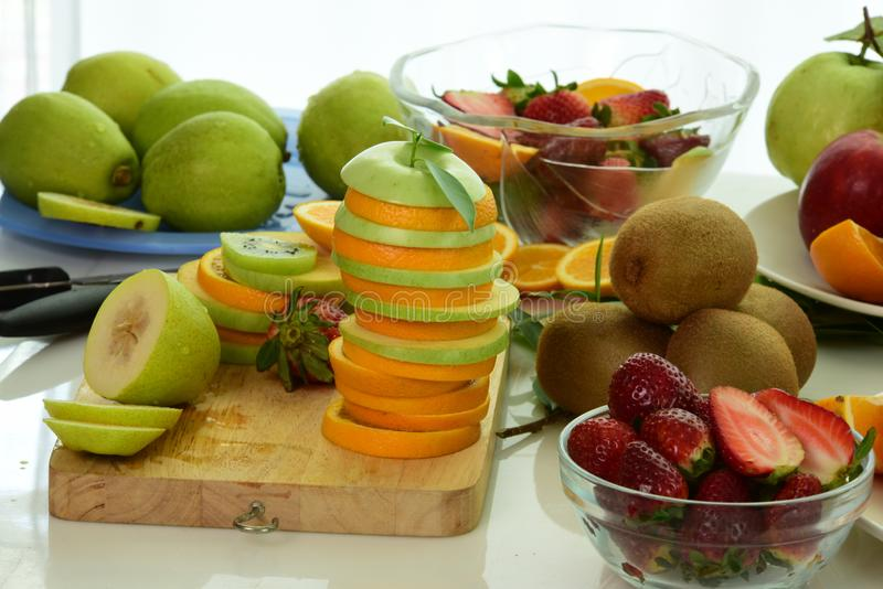 Mix fruits.Fresh fruits close up.Healthy eating, dieting concept stock photo