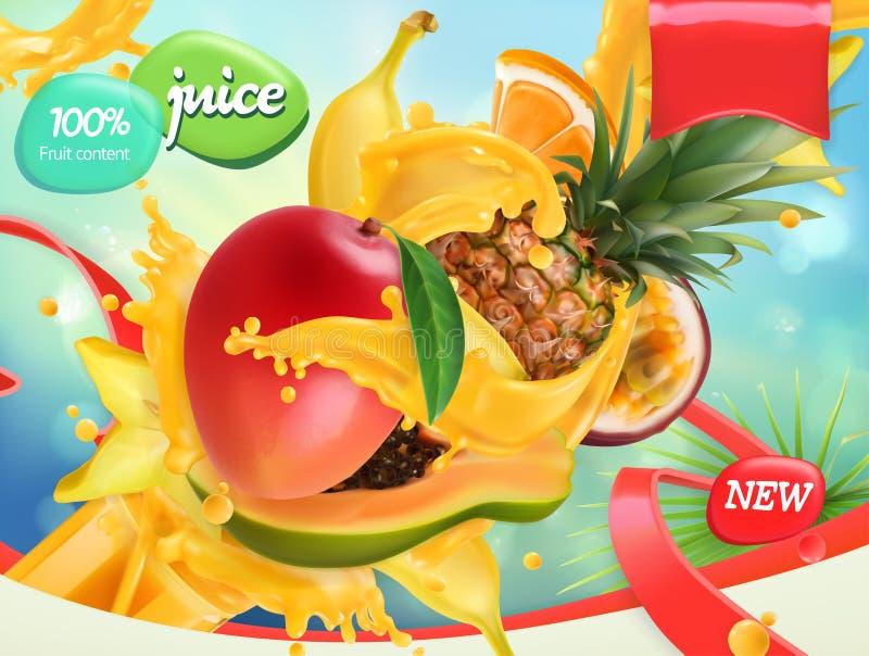 Mix fruits. Splash of juice. 3d vector, package design stock illustration