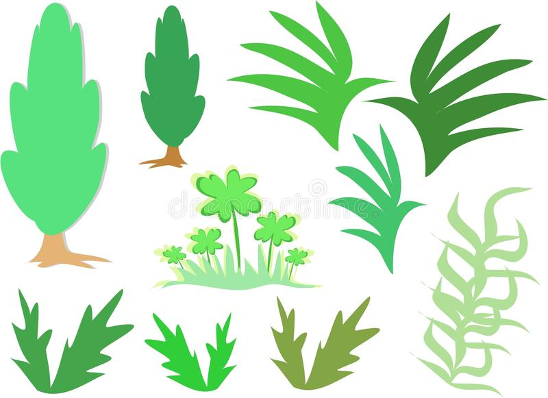 Mix Of Greenery Plants Royalty Free Stock Photos