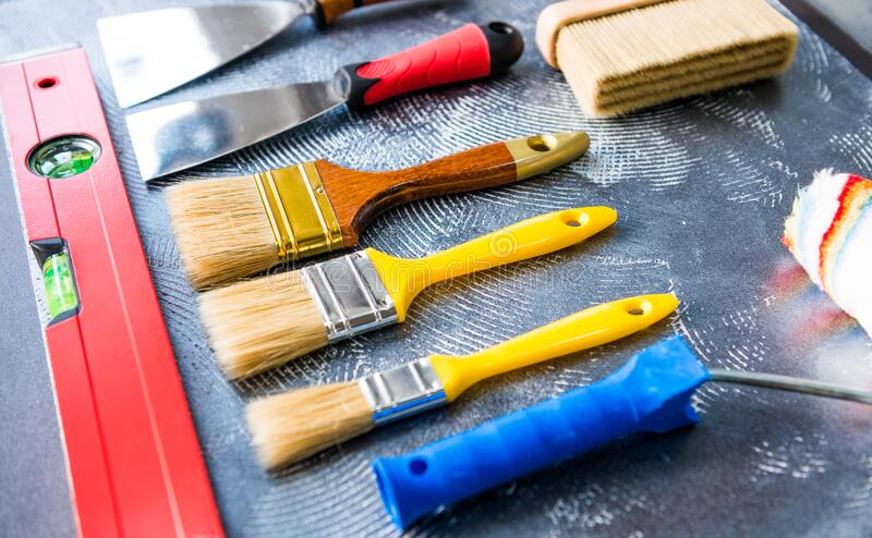 Mix of handle working tools stock photos