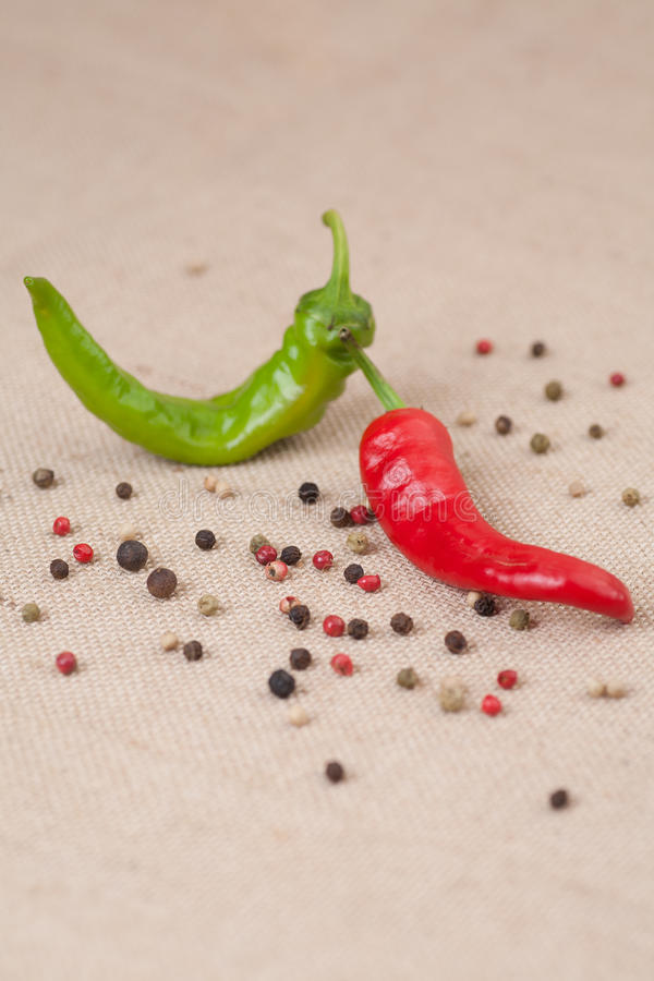 Mix of hot peppers vertical royalty free stock image