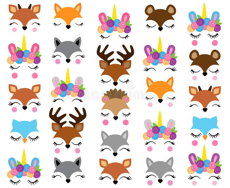 Mix and Match Animal Faces royalty free illustration