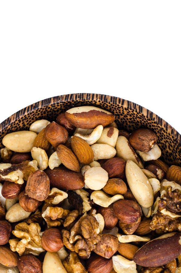 Mix of nuts on white background. Studio Photo stock photography