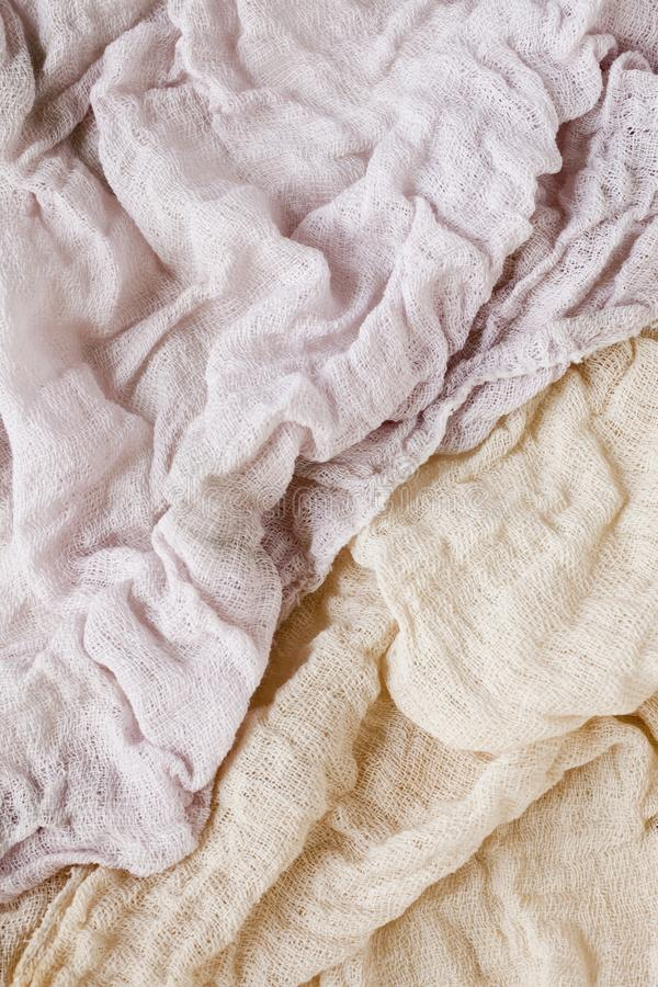 Mix of old linen rags stock photo