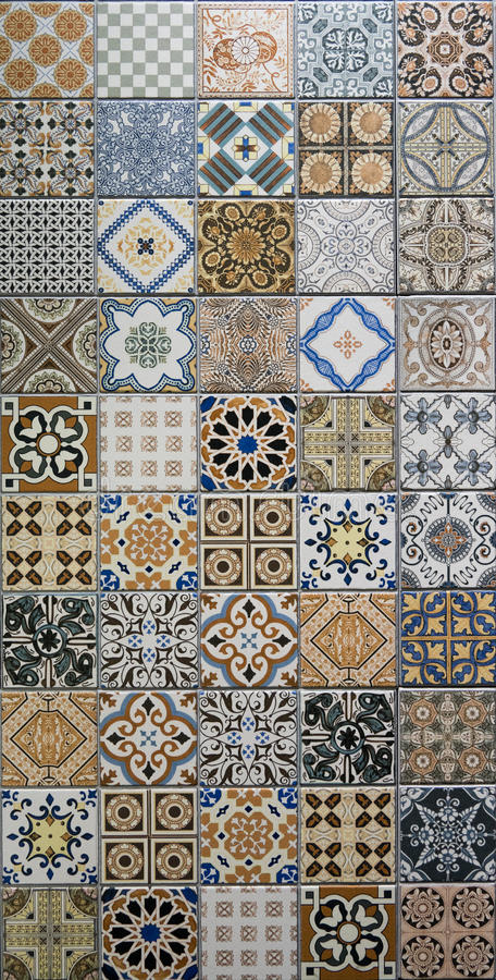 Mix pattern mosaic tiles stock image
