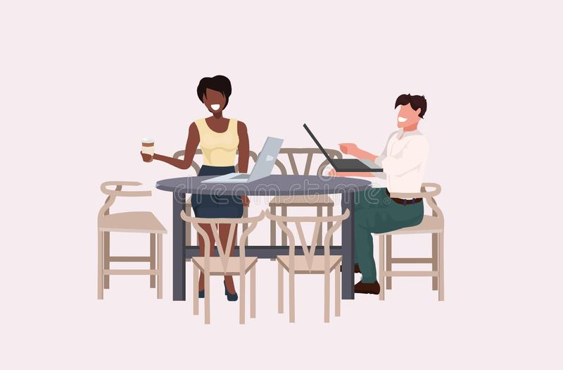 Mix race business couple discussing during meeting coffee break concept man woman office workers sitting at table using. Laptops flat horizontal full length royalty free illustration