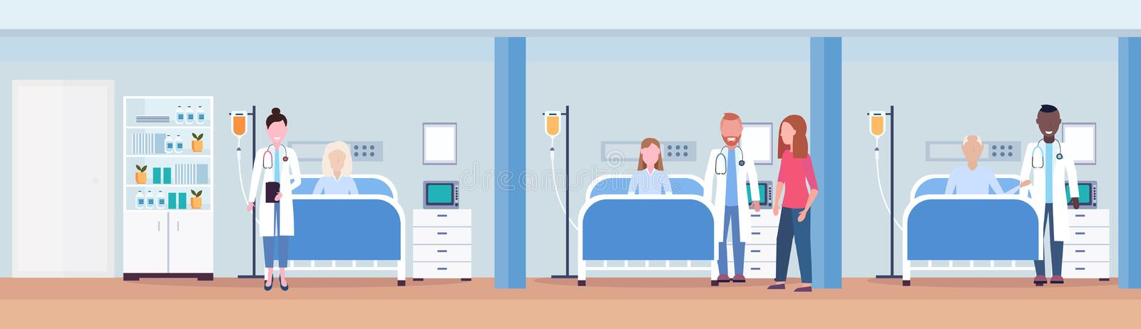 Mix race doctors visiting patients lying in bed intensive therapy ward healthcare concept hospital room interior modern. Medical clinic horizontal banner vector stock illustration