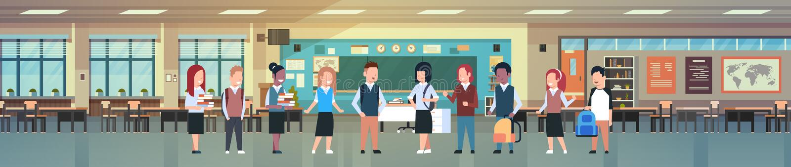 Mix Race Group Of School Children In Classroom Interior, Diverse Pupils In Modern Class Room Horizontal Banner royalty free illustration