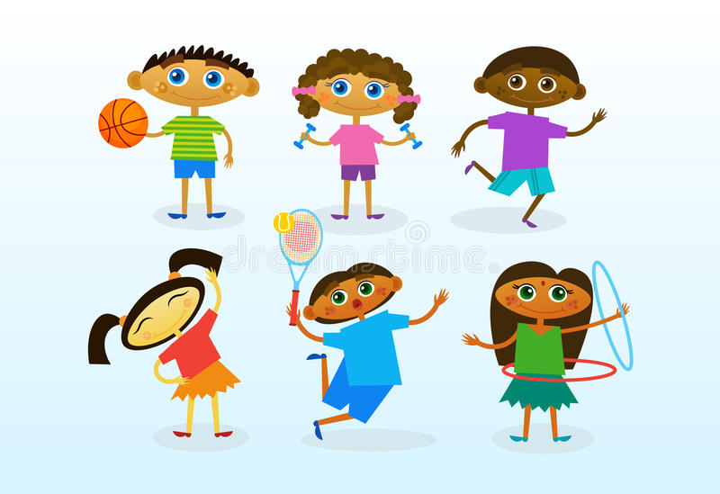 Mix Race Kids Group Cheerful Diverse Children Collection. Flat Vector Illustration stock illustration