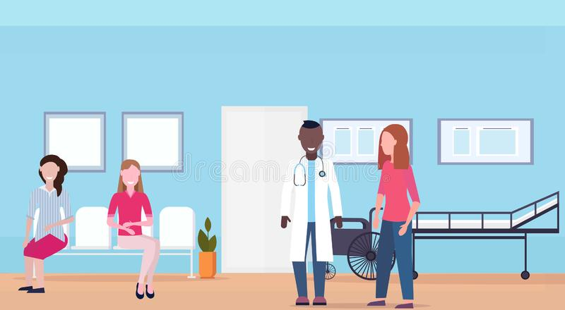Mix race patients with doctor at hospital waiting room healthcare consultation concept medical clinic interior full. Length horizontal flat vector illustration vector illustration