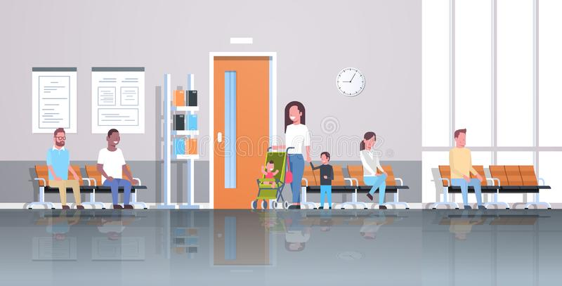 Mix race patients waiting in line queue to doctor cabinet consultation and diagnosis healthcare concept medical clinic. Corridor interior horizontal flat vector royalty free illustration