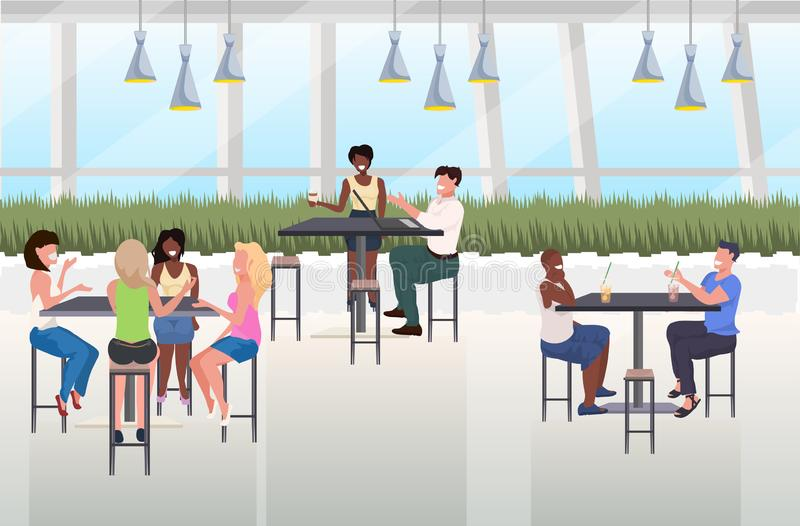 Mix race people drinking beverages friends sitting at cafe table spending time together modern restaurant interior flat royalty free illustration