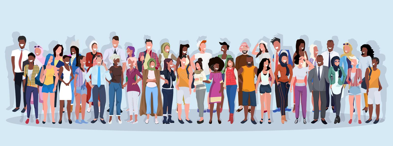 Mix race people group different occupation standing together over blue background male female workers full length stock illustration