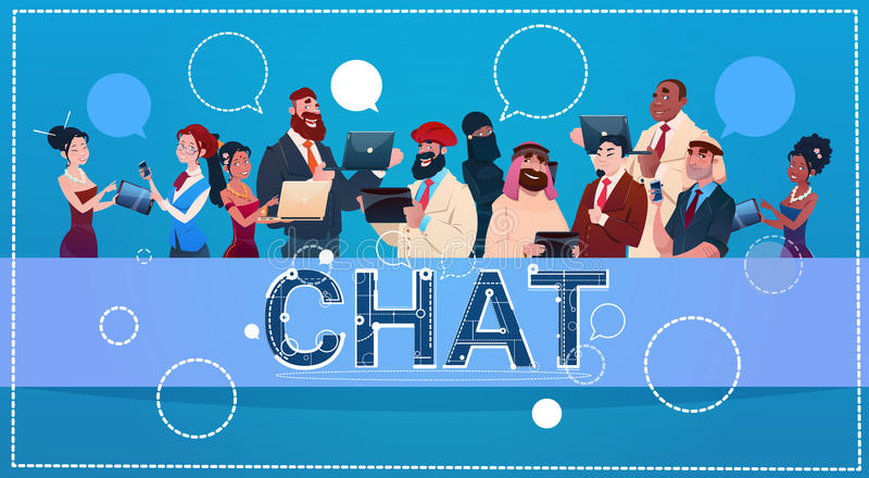 Mix Race People Group Using Gadgets Chat Social Network Communication Concept. Flat Vector Illustration royalty free illustration