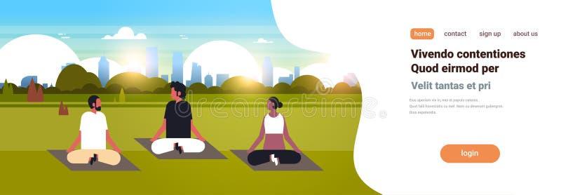 Mix race people sitting lotus position doing sport fitness exercises meditation relaxation concept urban park landscape stock illustration