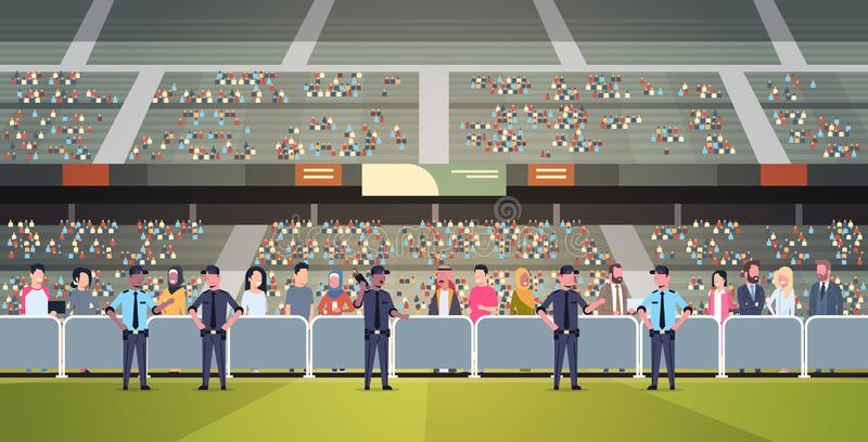 Mix race police officers group controlling fans crowd on sport stadium arena at football match championship safety vector illustration