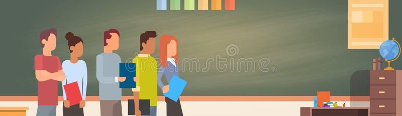 Mix Race Student Group Over Green Blackboard Holding Books University Education royalty free illustration