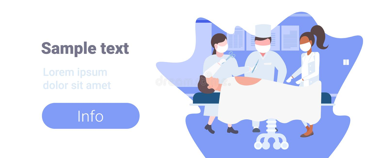 Mix race surgeons team surrounding patient lying on operation table during surgery medical workers in operation room. Copy space horizontal flat full length royalty free illustration