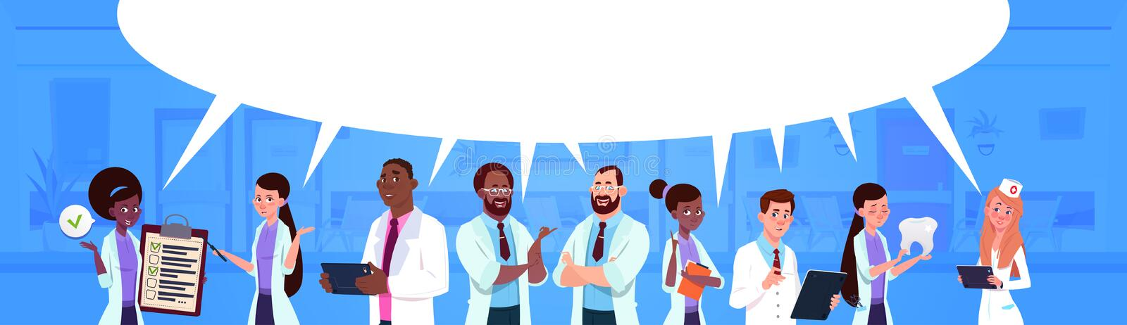 Mix Race Team Of Doctors Standing Over White Chat Bubble Background Medicine And Healthcare Concept. Flat Vector Illustration royalty free illustration