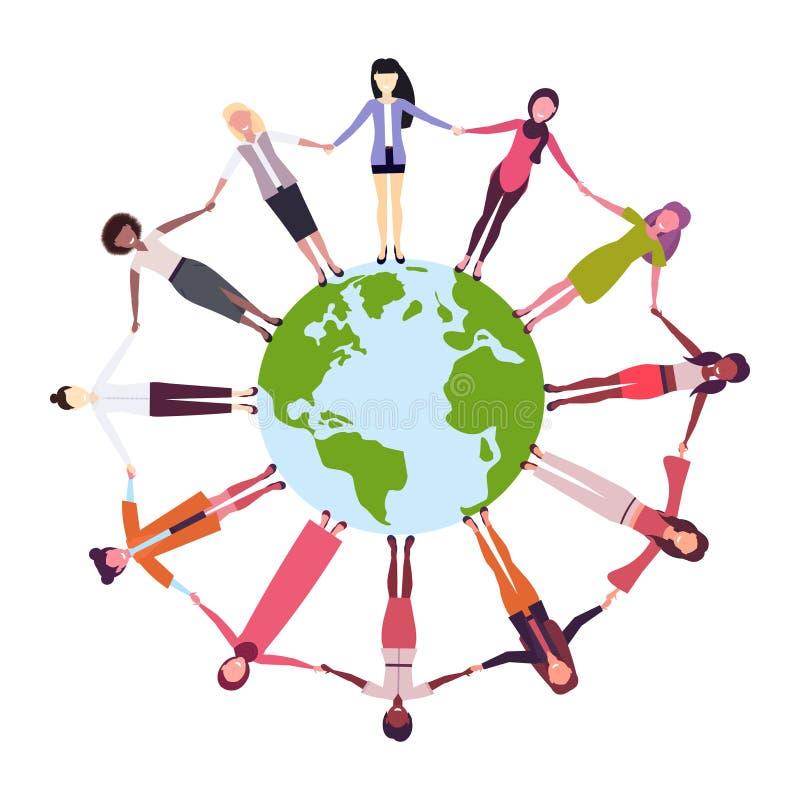 Mix race women holding hands around globe international friendship concept girls surrounding world white background. Vector illustration stock illustration