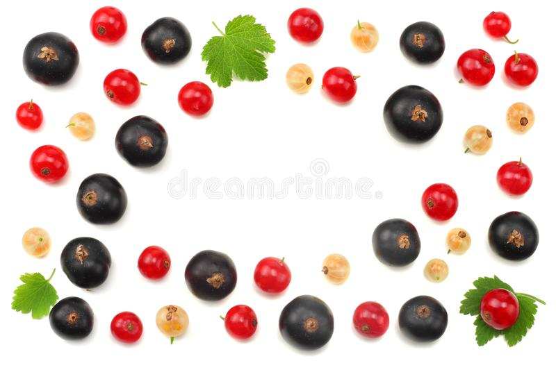 Mix of red currant and black currant with green leaf isolated on a white background. healthy food. top view stock photo