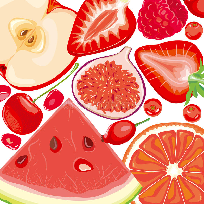Mix red fruits and berries. Mix slices of red fruits and berries on a white background stock illustration
