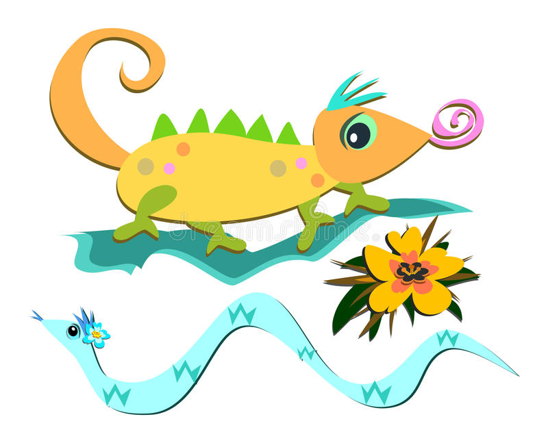 Download Mix Of Reptiles And A Flower Stock Images - Image: 20370884