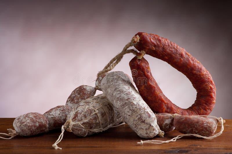 Mix of salami stock images