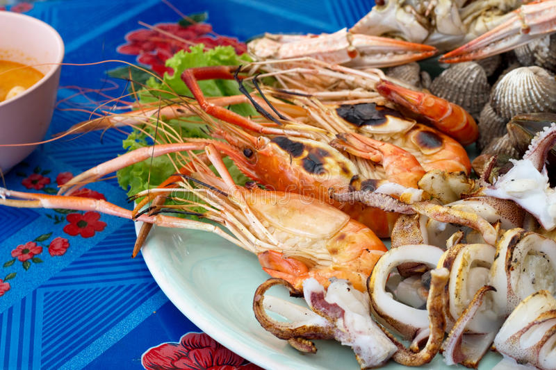 Mix sea food on disc royalty free stock photos