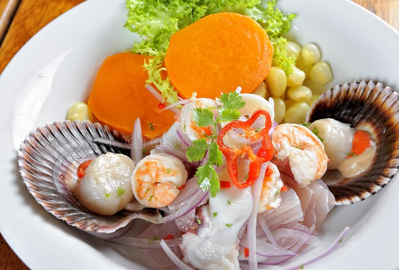 Mix of Sea food and fish peruvian ceviche. stock image