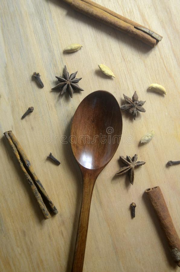 Mix spice on wooden background royalty free stock images